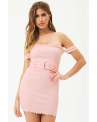 Forever 21 - Pink Raw-cut Ribbed Tube Dress - Lyst