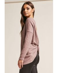 Forever 21 - Purple Ribbed Twist-back Top - Lyst
