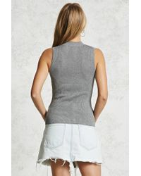 Forever 21 - Gray Ribbed Mock Neck Top - Lyst