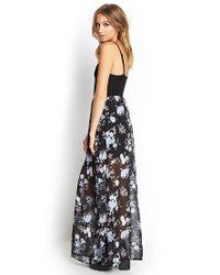 Forever 21 - Purple Floral Chiffon Maxi Dress - Lyst