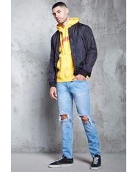 Forever 21 - Blue Distressed Slim-fit Jeans for Men - Lyst