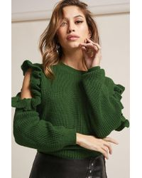 Forever 21 Green Ribbed Knit Ruffle-trim Open-shoulder Sweater