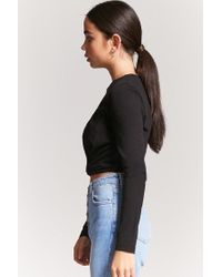 Forever 21 Black Twist-front Top