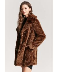 Forever 21 - Brown Longline Faux-fur Coat - Lyst