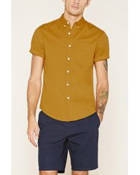 Forever 21 - Brown Button-collar Shirt for Men - Lyst