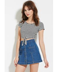 Forever 21 | Black Knotted Stripe Crop Top | Lyst