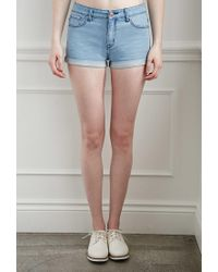 Forever 21 - Blue Cuffed Denim Shorts - Lyst