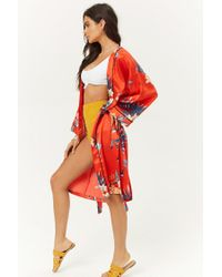 Forever 21 - Red Women's Floral Print Satin Kimono Jacket - Lyst