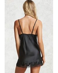 Forever 21 - Black Satin Lace Chemise - Lyst