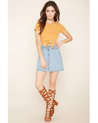 Forever 21 - Yellow Tie-waist Crop Top - Lyst