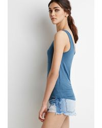 Forever 21 - Blue Classic Pocket Tank - Lyst