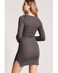 Forever 21 - Gray Ladder Cutout Bodycon Dress - Lyst