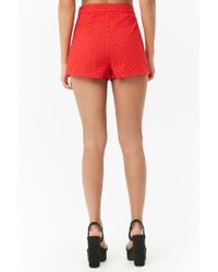 Forever 21 - Red Women's Floral Eyelet Shorts - Lyst