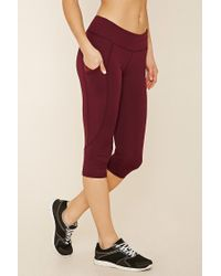 d753e9ab19 Lyst - Forever 21 Active Capri Yoga Pants in Red