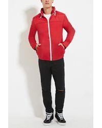 Forever 21 - Red Zip-up Hooded Windbreaker for Men - Lyst