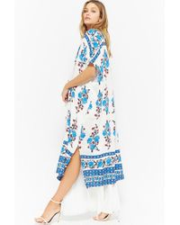 Forever 21 - White Floral Open-front Duster - Lyst