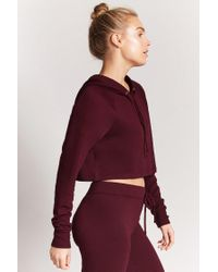 Forever 21 - Red Active Hooded Crop Top - Lyst