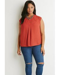 Forever 21 | Orange Pleated Chiffon Blouse | Lyst
