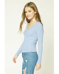 Forever 21 - Blue Women's Ribbed Knit Top - Lyst