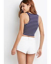 Forever 21 - Blue Ribbed Stripe Crop Top - Lyst
