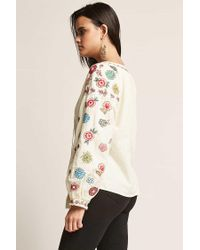 Forever 21 Natural Floral Embroidered Peasant Top