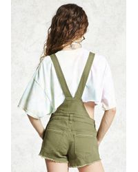 Forever 21 - Green Distressed Dungaree Shorts - Lyst