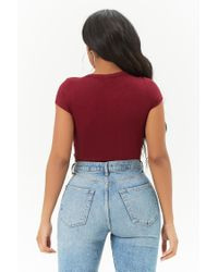 Forever 21 - Red Lace-up Bodysuit - Lyst