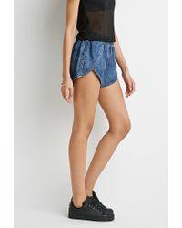 Forever 21 - Blue Denim Tulip-front Shorts - Lyst