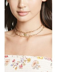 Forever 21 - Metallic Layered Heart Necklace - Lyst
