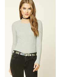 Forever 21 - Gray Waffle Knit Crew Neck Top - Lyst
