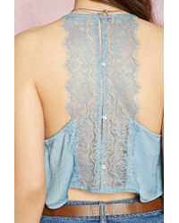 Forever 21 - Blue Lace Crop Top - Lyst