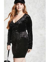 711ba9bd2df Forever 21 Plus Size Crushed Velvet Dress in Black - Lyst