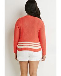 Forever 21 - Pink Contrast-striped Sweater - Lyst