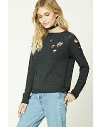 Forever 21 - Gray Contemporary Distressed Sweater - Lyst