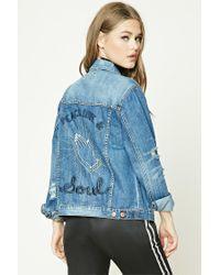 Forever 21 Blue Distressed Graphic Denim Jacket