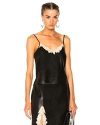 Alexander Wang - Black Straight Cut Camisole Top With Lace - Lyst
