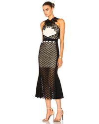 David Koma | Black Zig Zag Macrame Midi Dress | Lyst