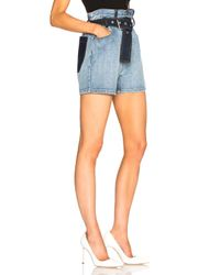 3.1 Phillip Lim - Blue Belted Paper Bag Shorts - Lyst