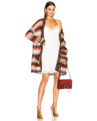 Chloé | Orange Striped Brushed Mohair Cardigan | Lyst
