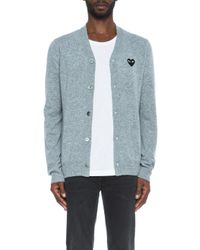 Play Comme des Garçons | Gray Lambswool Cardigan With Black Emblem for Men | Lyst