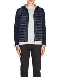 Moncler | Blue Cardigan Jacket With Hood for Men | Lyst