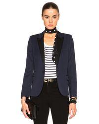 Saint Laurent | Blue Single Button Tuxedo Jacket | Lyst