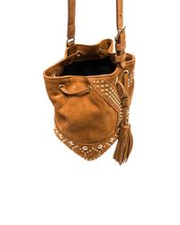 Saint Laurent - Brown Small Y Studs Suede Bucket Bag - Lyst