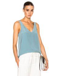 Tibi   Blue V-neck Silk Cami   Lyst