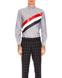 Thom Browne   Blue Printed Diagonal Stripe Oxford Shirt   Lyst