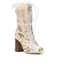 Brother Vellies - White For Fwrd Exclusive Lace Open Toe Lali Boots - Lyst