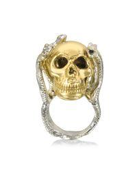 Bernard Delettrez | Metallic Four Snakes Ring W/bronze Skull | Lyst