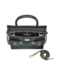 Marni - Blue China Coffee And Gold Brown Leather Dual Tote Bag - Lyst