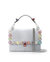 Fendi - Kan I Studs Pearl Gray Leather Shoulder Bag - Lyst
