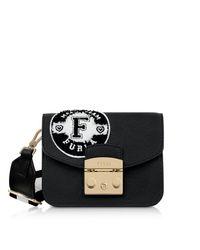 Furla - Black Onyx And Petalo Leather Metropolis Post Mini Crossbody Bag - Lyst